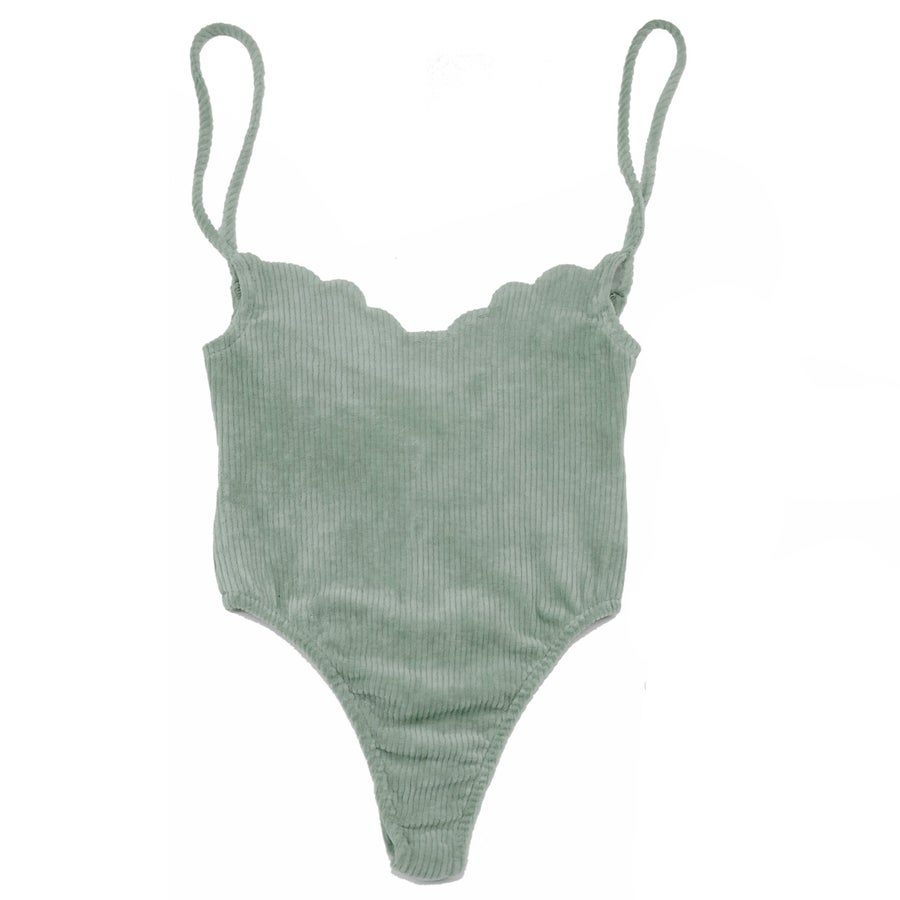Image of 70'S SCALLOP BODYSUIT- SOFT MINT