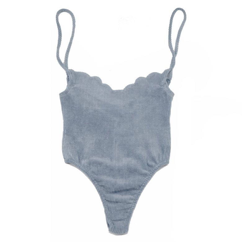 Image of 70'S SCALLOP BODYSUIT- WASHED OUT DENIM BLUE