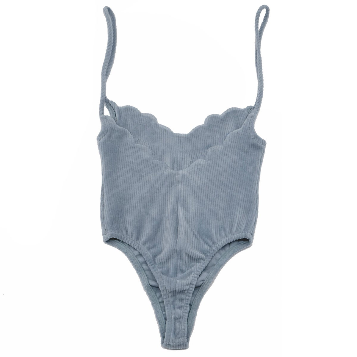 70'S SCALLOP BODYSUIT- WASHED OUT DENIM BLUE
