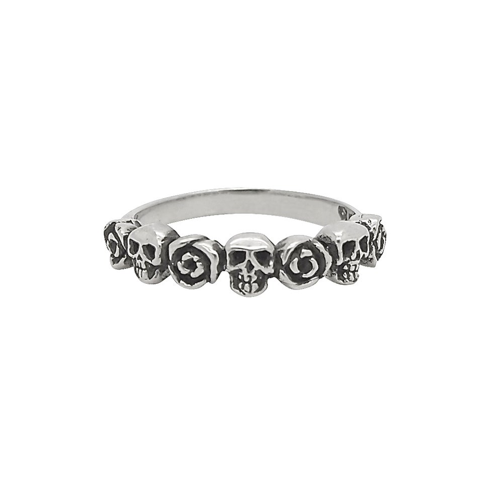 Image of Sterling Silver Skulls & Roses Ring