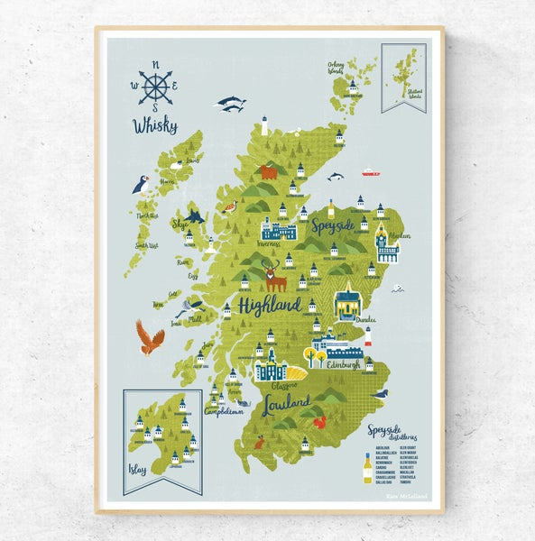 Image of A5 Scottish Whisky Map Postcard