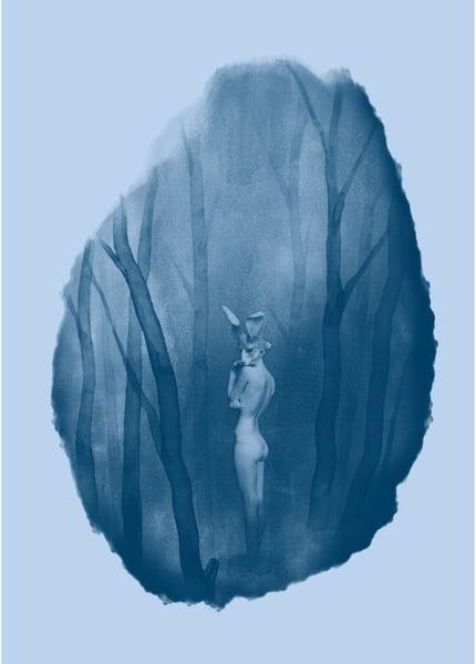 Image of A2 VIGILS ECHO SCREEN PRINT BLUE ON BLUE