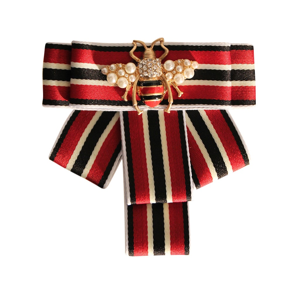 Image of Red and Black Rhinestone Bee Brooch