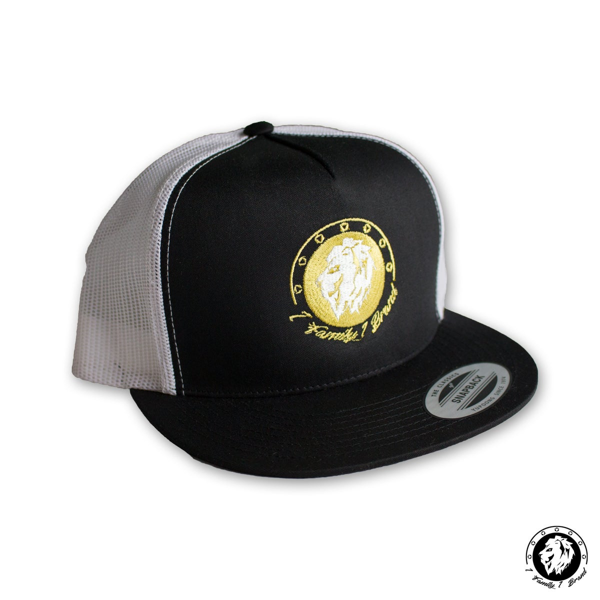 Image of Trucker Snapback (Black/White/Gold)