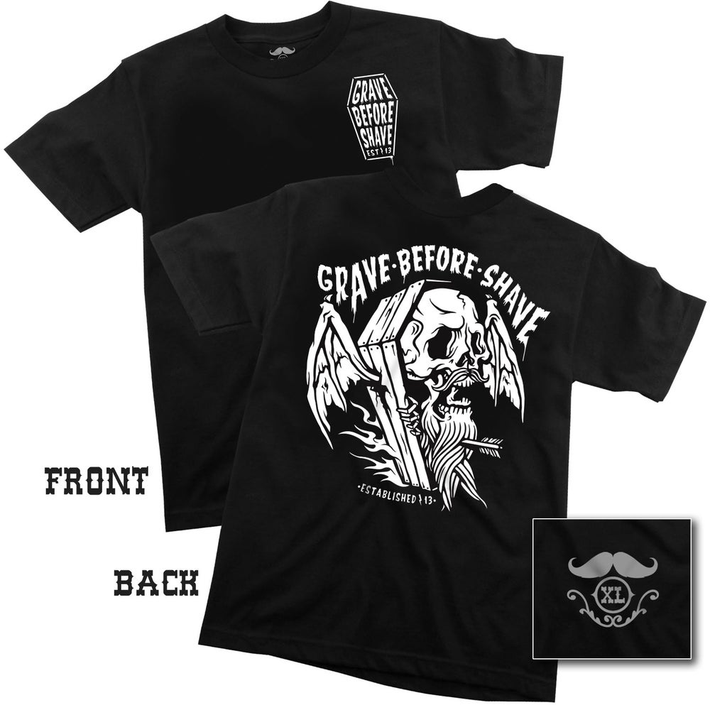 "Image of GRAVE BEFORE SHAVE ""Viking Funeral"" Tee"