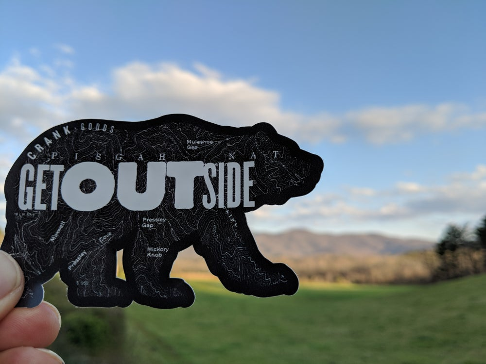 "Image of CRANK Goods ""Get Outside, Bear!"" BLACK Die Cut vinyl sticker"