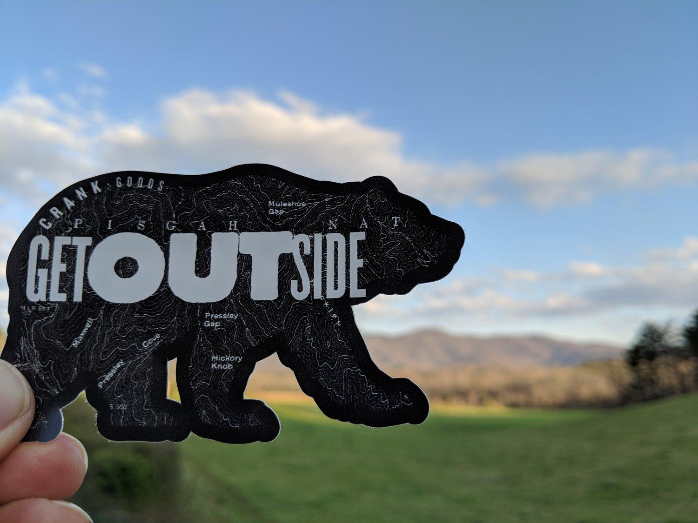 "Image of CRANK Goods ""Get Outside, Bear!"" BLACK Die Cut vinyl sticker"