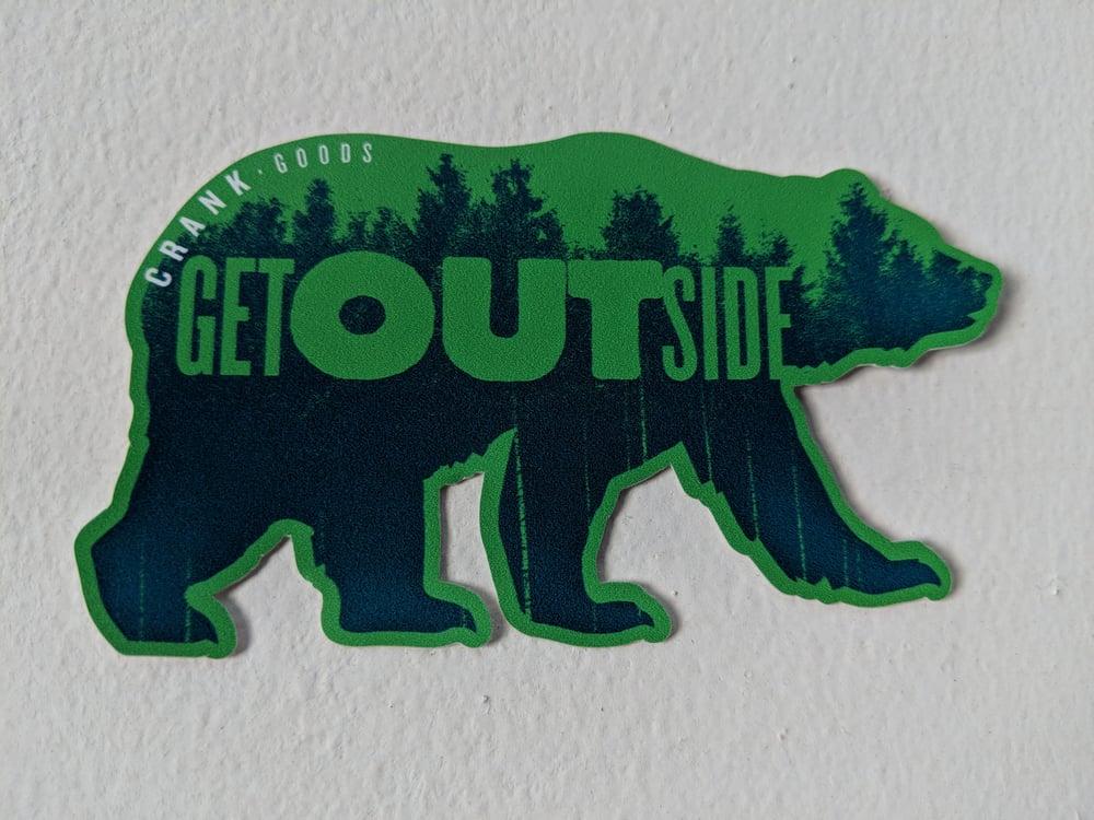"""CRANK Goods """"Get Outside, Bear!"""" GREEN Die Cut vinyl sticker"""