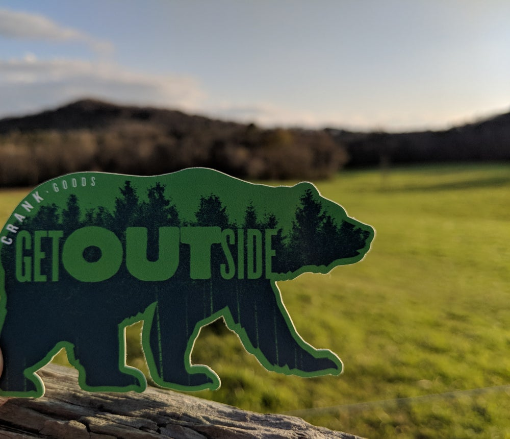 "Image of CRANK Goods ""Get Outside, Bear!"" GREEN Die Cut vinyl sticker"