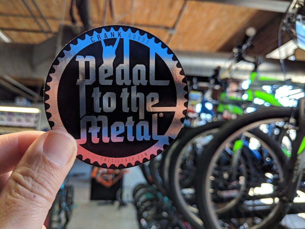 Image of 'Pedal To The Metal' Chrome reflective vinyl sticker