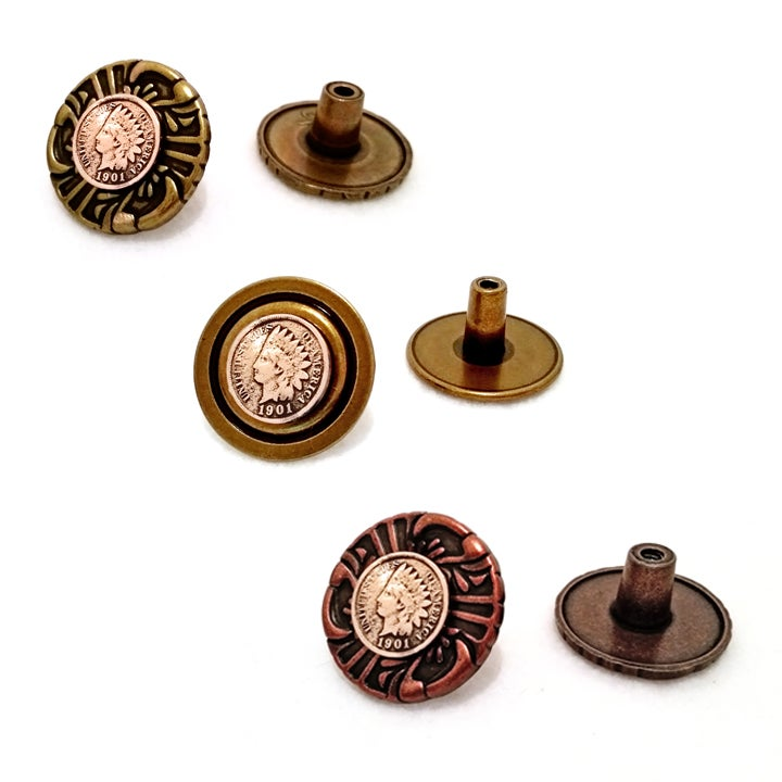 Image of Vintage Coin Copper Drawer Pull Cabinet Knob - Indian Head Antique Copper Penny