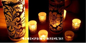 Image of Vellum Luminary - Floral Damask 8""