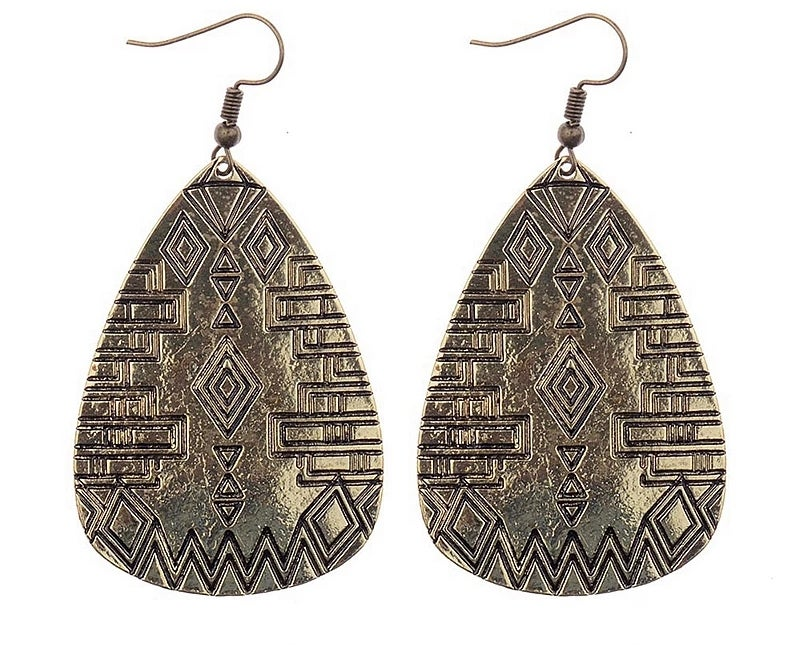 Image of Aztec Print TearDrop Earring