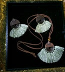 Image 3 of Circle Metal and Fringe Earring & Necklace set