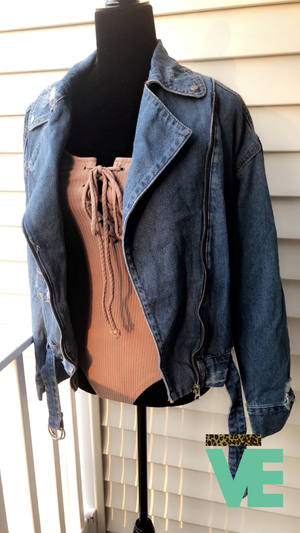 Image of Biker Style Denim Jacket