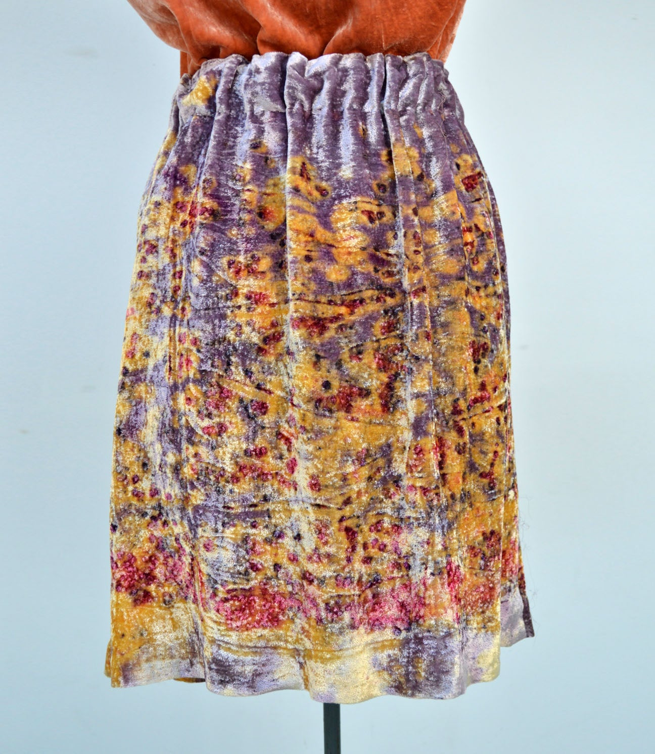 Image of pull on velvet skirt