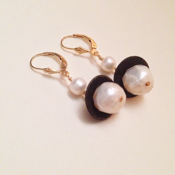 Image of Queen of Swords White Freshwater Faceted Pearl Gold Filled Leverback Earrings | Handmade Avant Garde