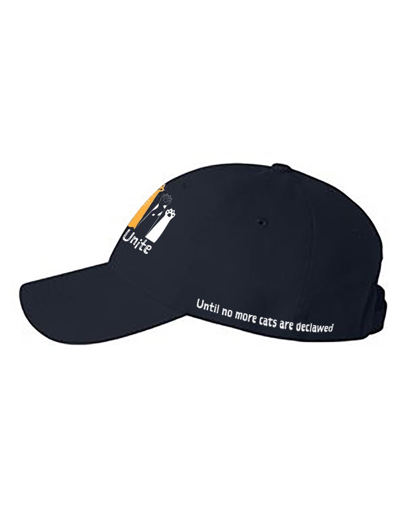 Image of Baseball cap with embroidered Paws Unite design- Dark Navy Blue color