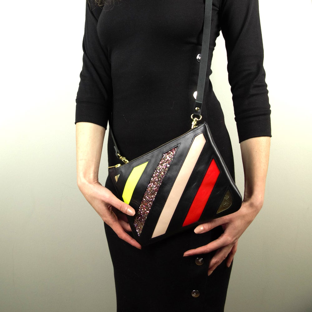 Image of DO NOT CROSS applique leather crossbody/clutch bag