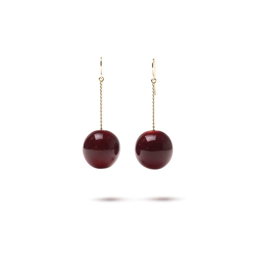 "Image of CERAMIC EARRINGS ""TAC TAC"" - BURGUNDY"