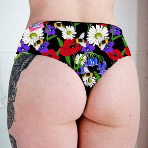 Image of Botanical Bees Low Rise Twerk Thong Shorts