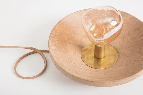 Image of Clear Glass and Oak Table Lamp