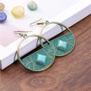 Image 1 of Aztec Circle w/ Turquoise Stone Inlay Earring