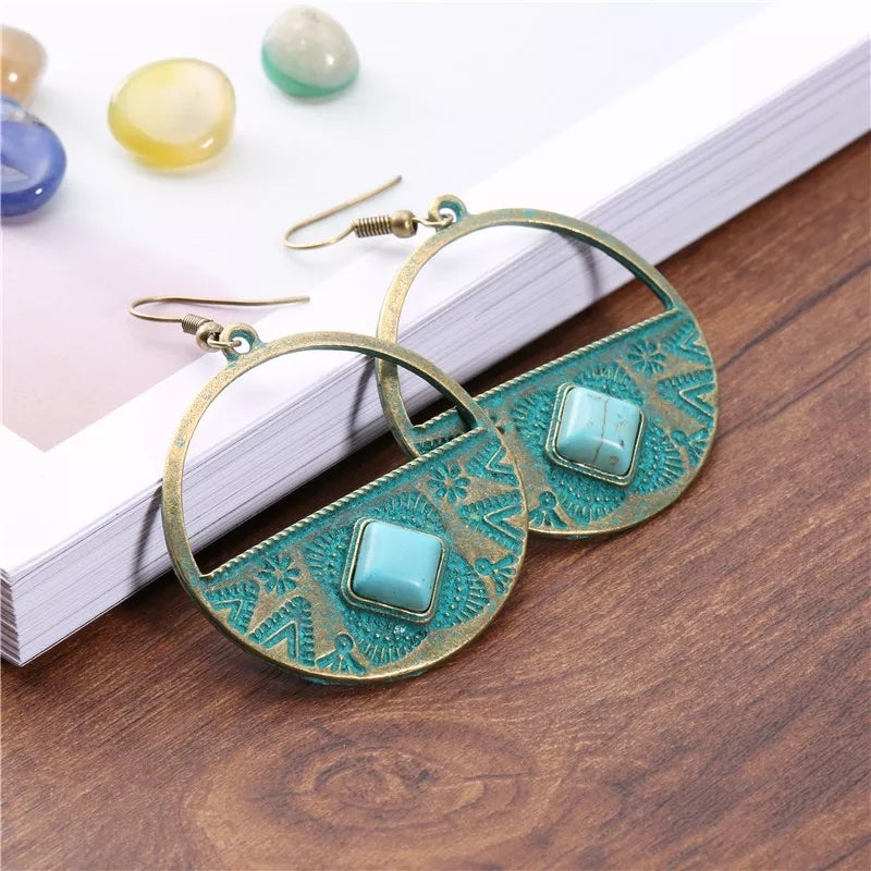 Image of Aztec Circle w/ Turquoise Stone Inlay Earring