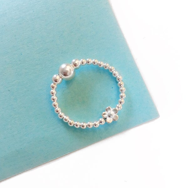 Image of Sterling Silver Flower Bead Ring