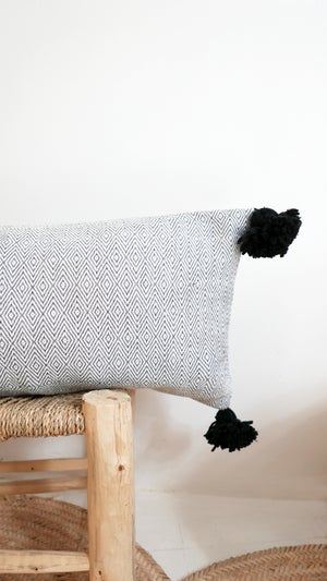 Image of Long POM POM Cotton Pillow Cover -  Diamonds