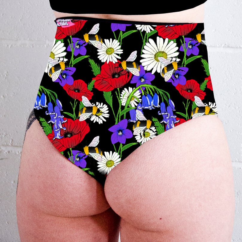 Image of Botanical Bees High Waisted Twerk Thong Shorts