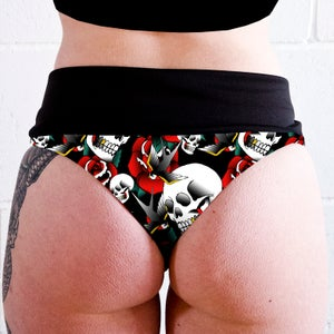 Image of Skulls & Roses Tattoo High Waisted Twerk Thong Shorts