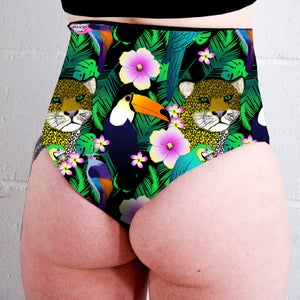 Tropical Jungle High Waisted Peachy Thong Shorts
