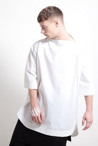 SPLIT NECK SHIRT WHITE