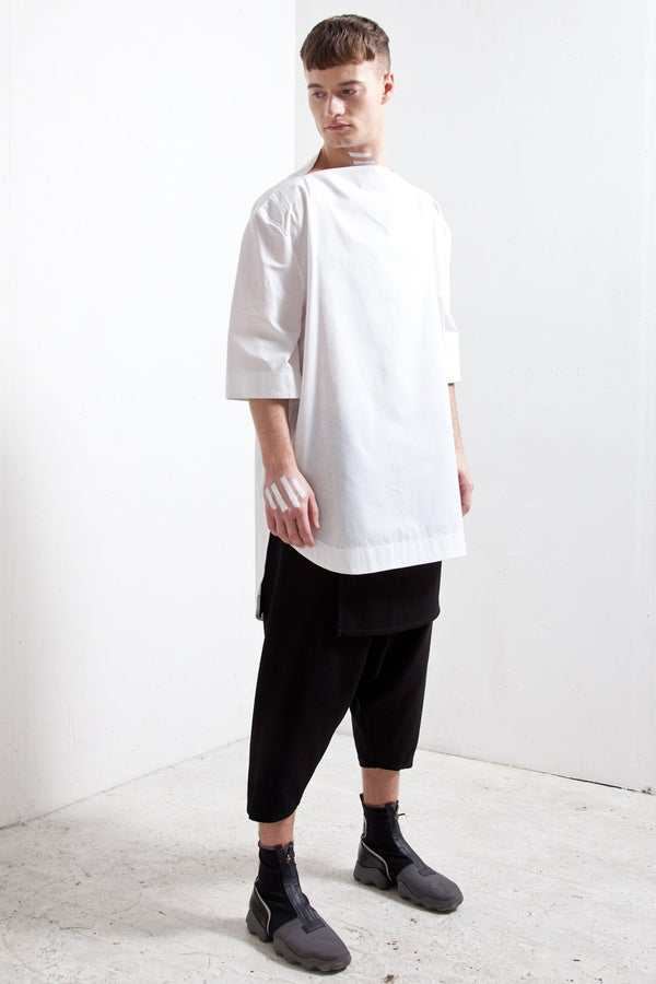 SPLIT NECK SHIRT WHITE