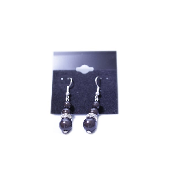 Image of Triple Bead Earrings With Diamonte Spacer Bead