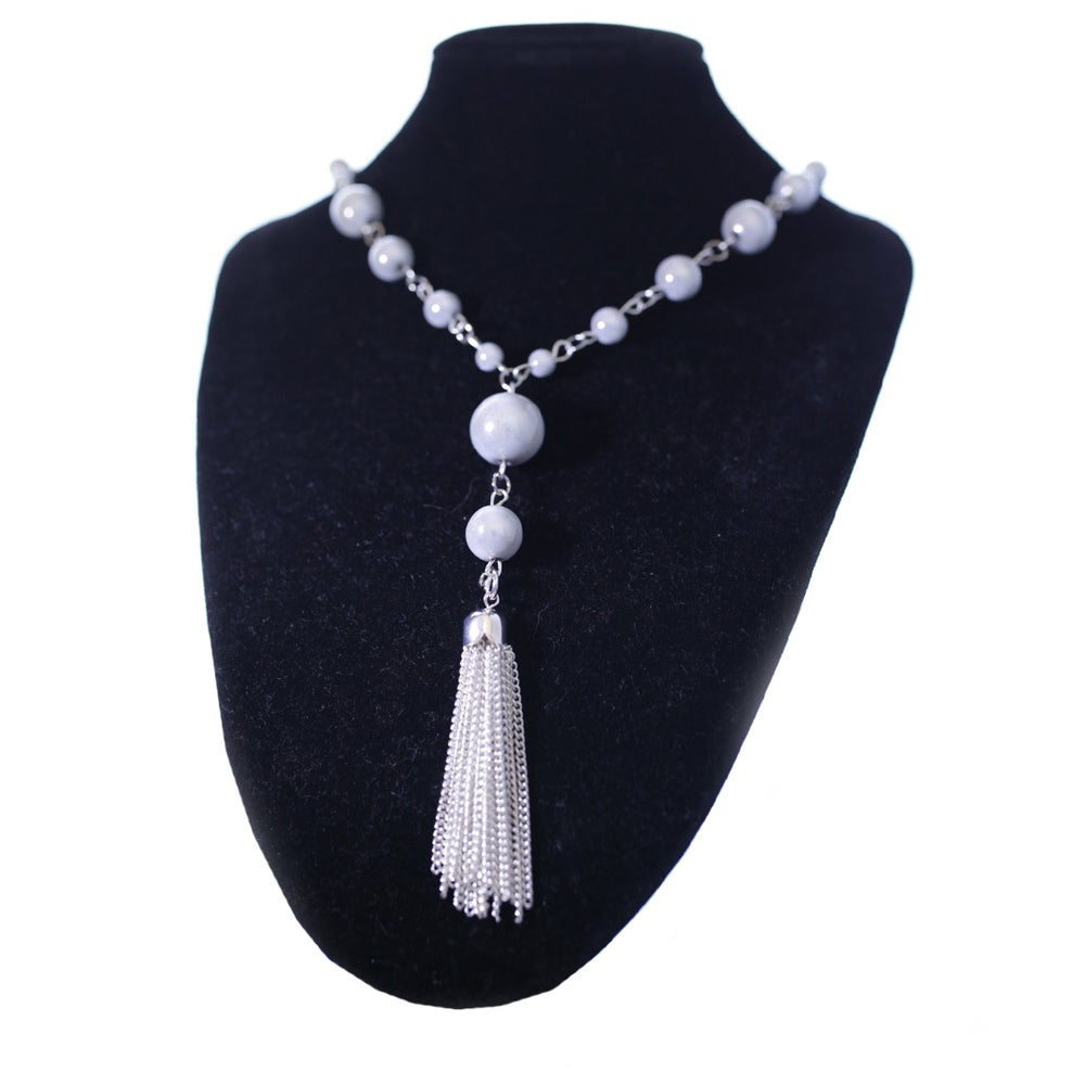 Image of Long Beaded Tassel Necklace.
