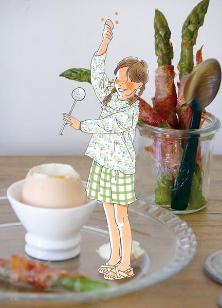 Image of oeuf à la coque, asperges au paprika doux