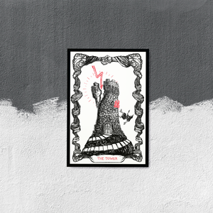 """Image of LIMITED EDITION RUN OF 10, The Tarot of The Tower, 13""""x19"""", Watercolor Paper"""