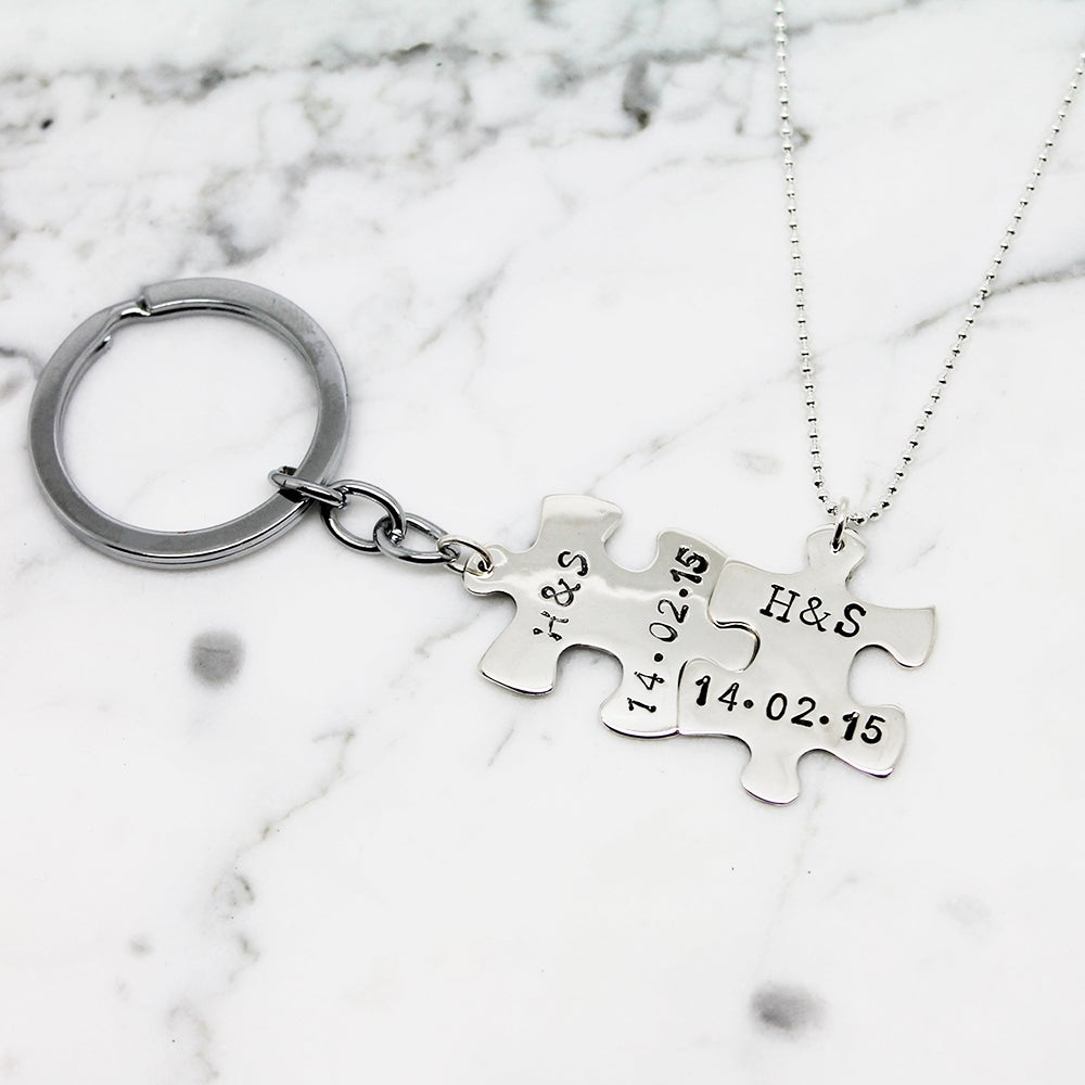 Image of Personalised Puzzle Piece Necklace Key ring Set