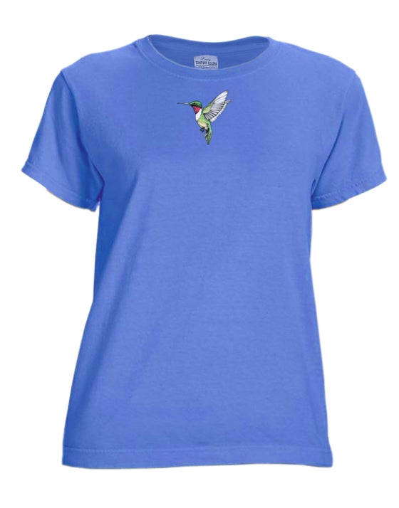 Image of Hummingbird Ladies periwinkle dyed t-shirt