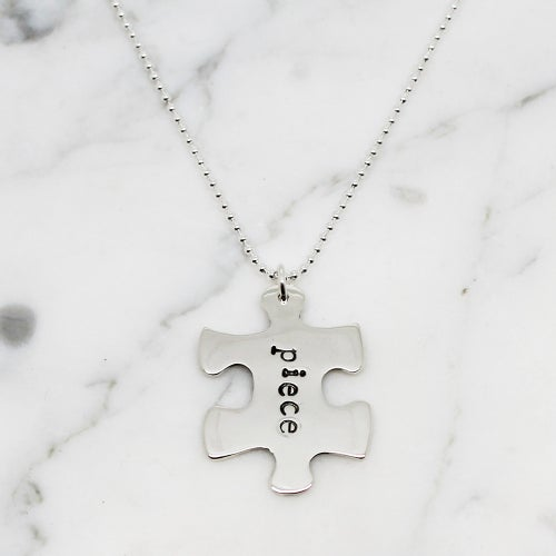 Image of Personalised Puzzle Piece Sterling Silver Necklace