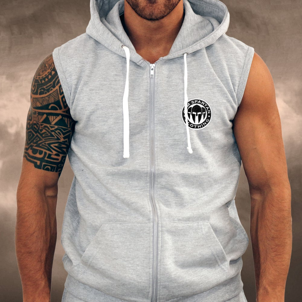 Image of Mens Gym Spartan Grey PLAIN Sleeveless Zoodie