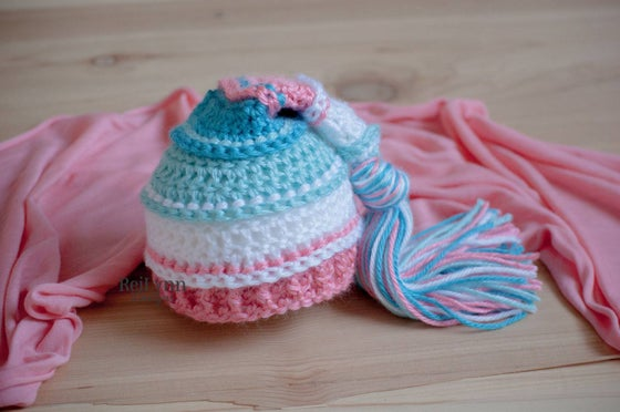 Image of Aqua, White, Coral and Turquoise Newborn Tassel Hat