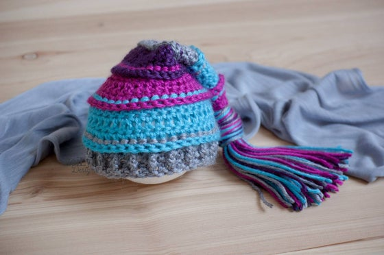Image of Fuchsia, Turquoise, Gray and Plum Newborn Tassel Hat