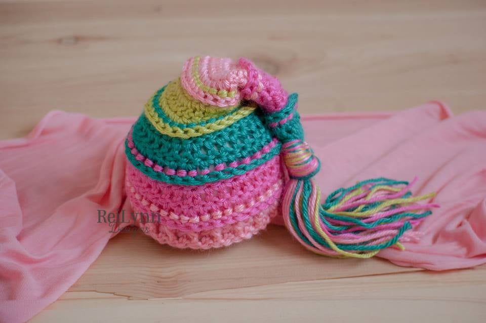 Image of Teal, Hot Pink, Coral and Chartreuse Newborn Tassel Hat