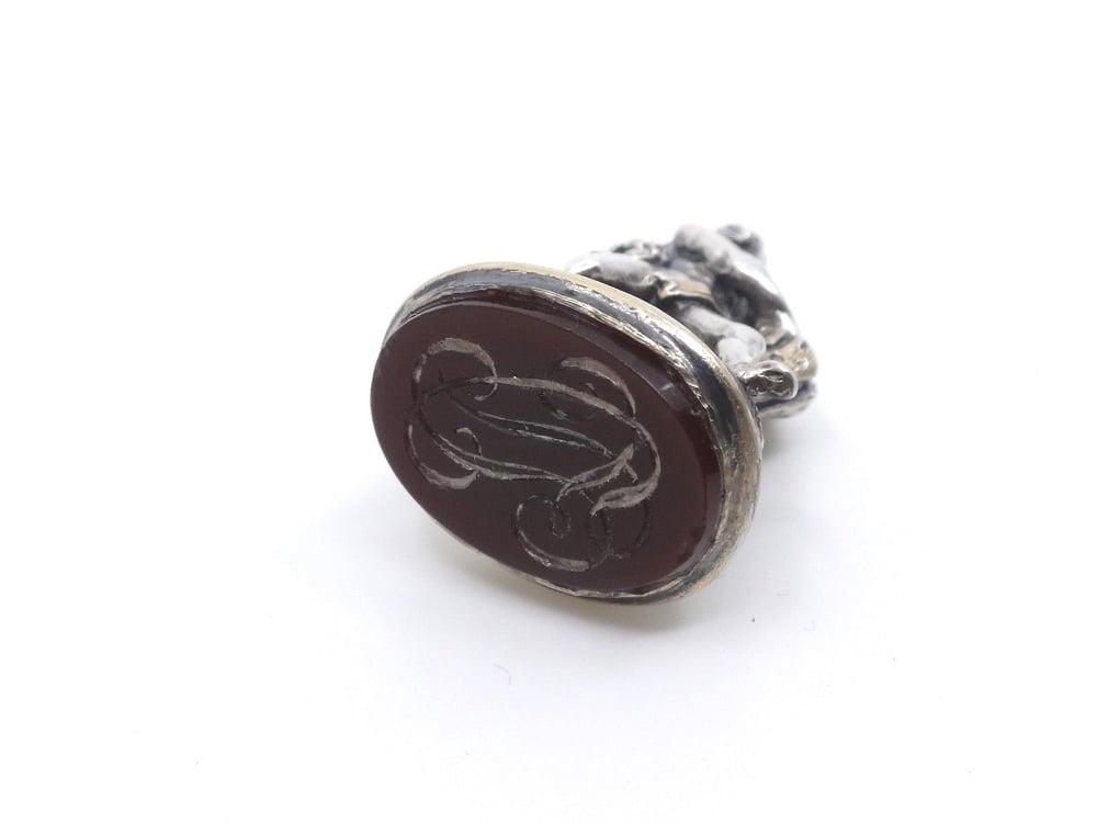 Image of Sceau à cacheté pendentif en argent massif Heracles et le lion XIXeme