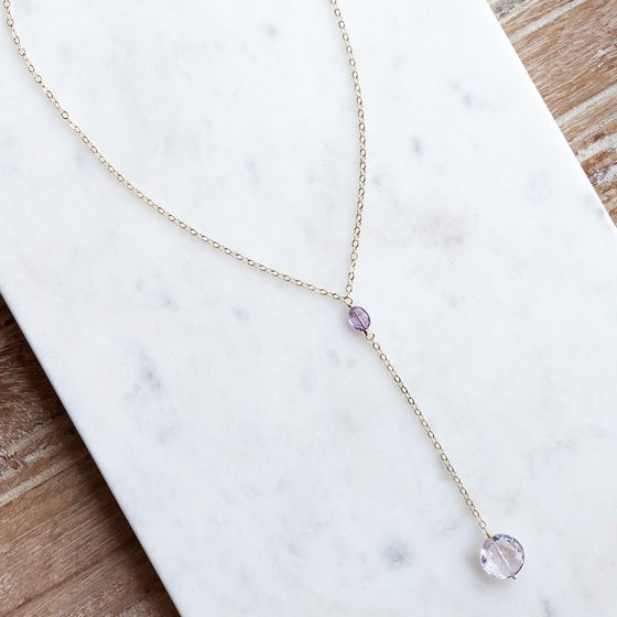 Image of Gemstone Lariat Necklace
