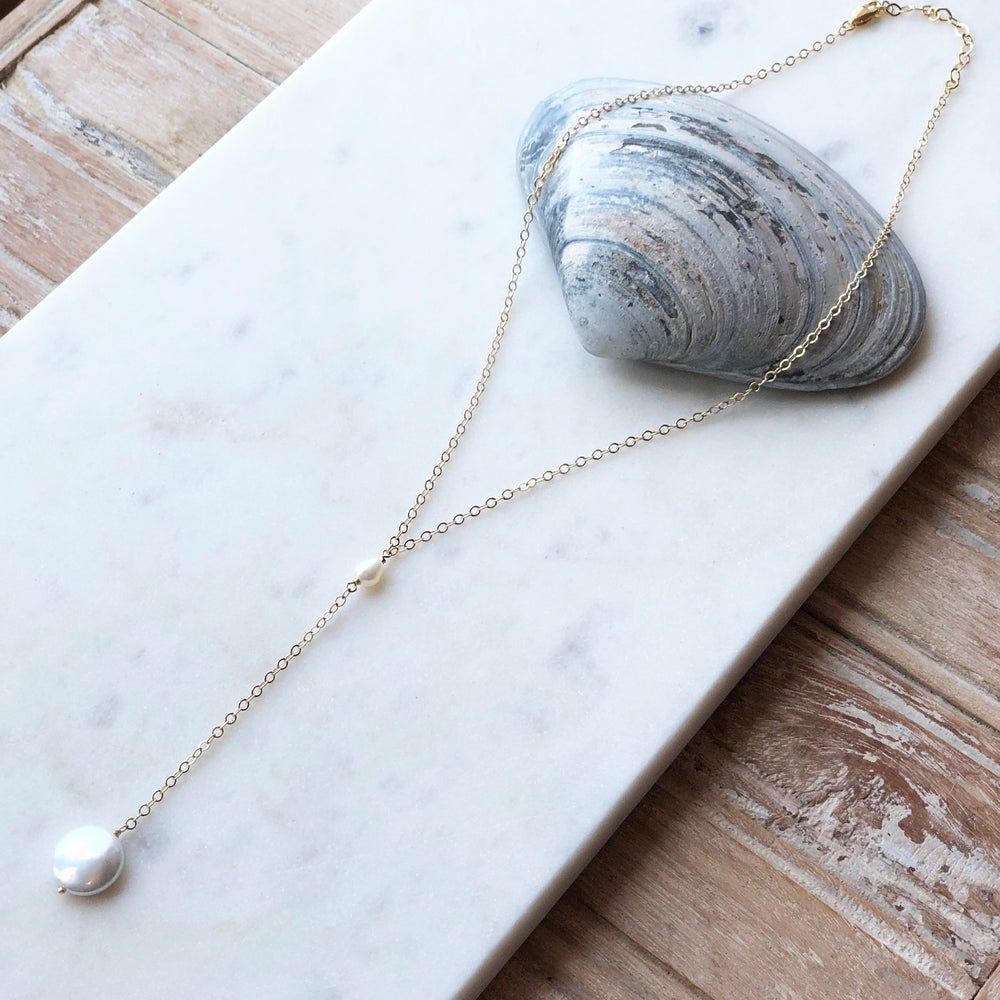 Image of Pearl Lariat Necklace