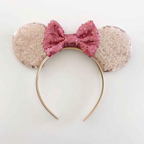 Image of Rose gold sequin mouse ears with peony sequin bow